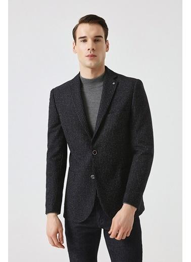 Tween Slim Fit Desenli Kumaş Ceket Lacivert